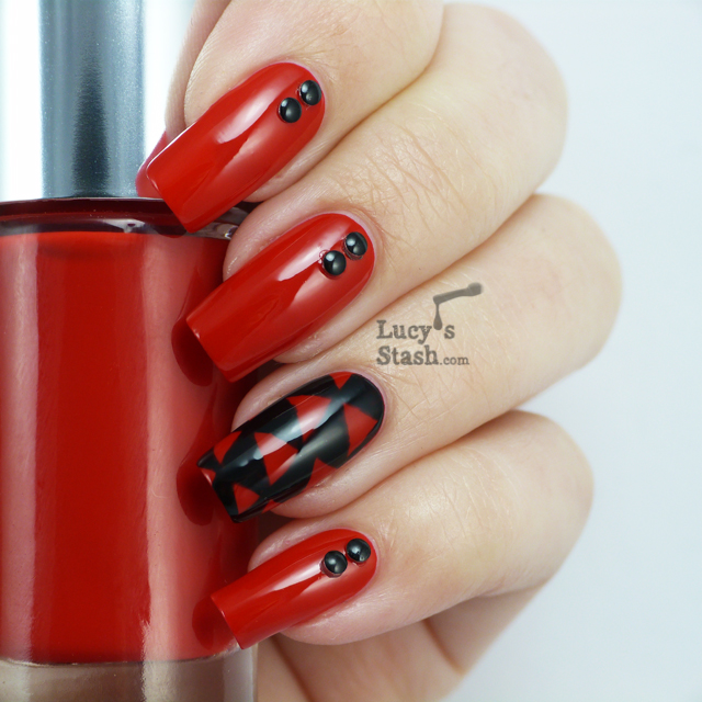 Nail Art design featuring Clinique Red Red Red and Barry M Nail Art