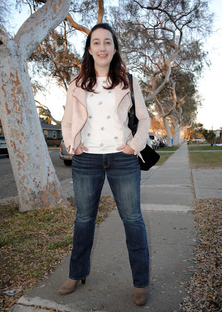 style, Samantha Chic, LC Lauren Conrad, Runway, Kohl's, American Eagle, Target, Joie, suede jacket, blush, jeweled sweater, bootcut jeans, denim, dark wash jeans, booties, fashion booties, Culver City, comic book store