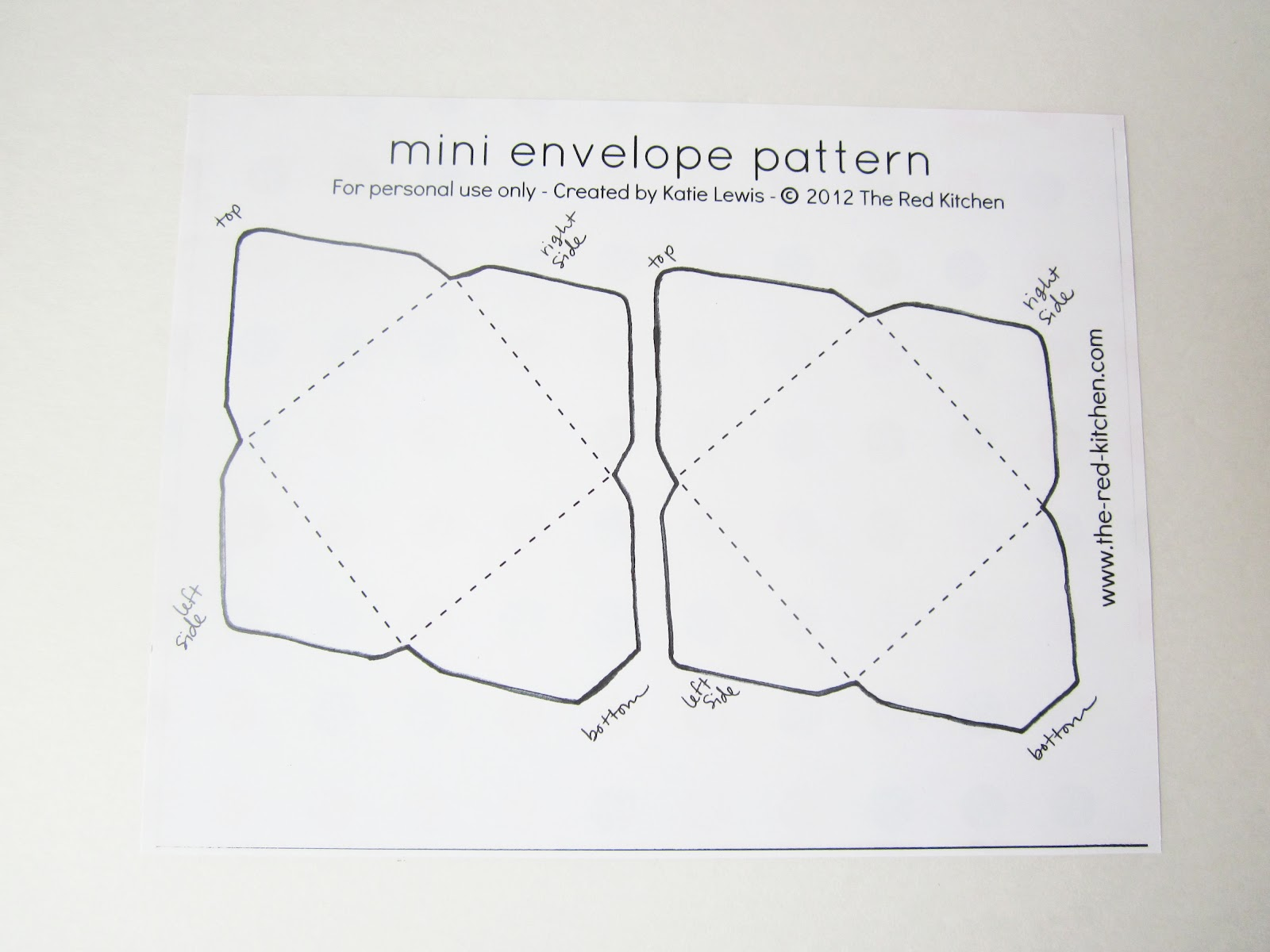 the red kitchen: DIY Mini Envelopes: Free Printable Pattern & Tutorial