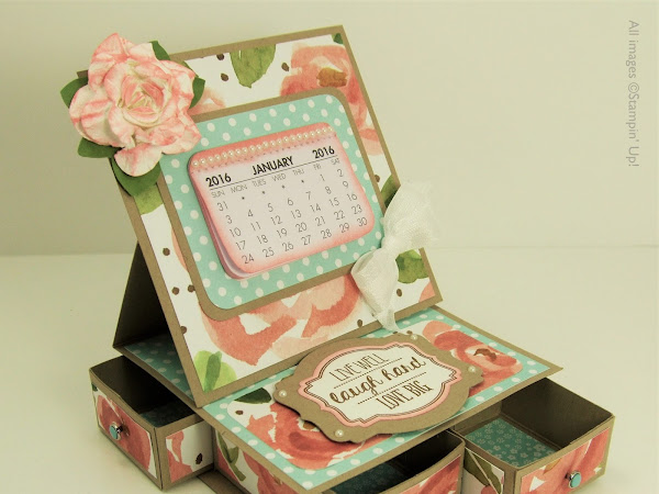 Desktop Calendar and Organiser with English Garden Designer Series Paper - Great Gift
