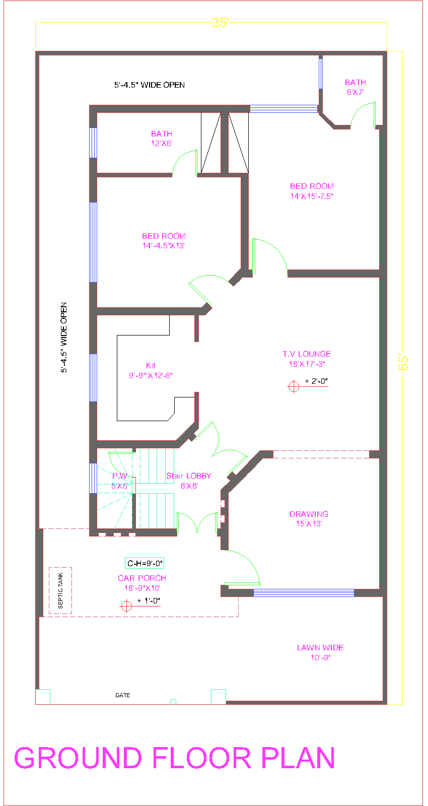 3d front new 10 marla house plan bahria for House map 3d