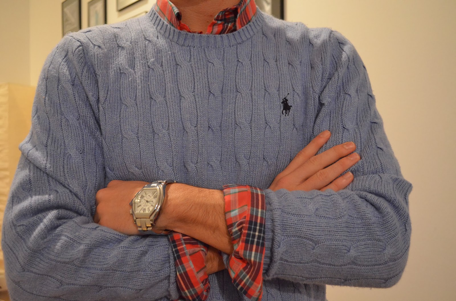 Life through preppy glasses seasonal plaid featuring untuckit for Plaid shirt under sweater