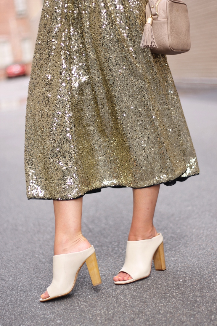 peep toe mules with gold sequin midi skirt