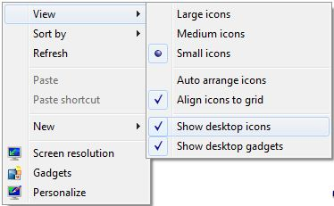 how to hide or show desktop icons