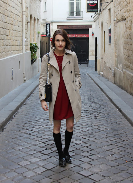 Ella Catliff, La Petite Anglaise, Paris, Red Dress, Sessun, Trench Coat