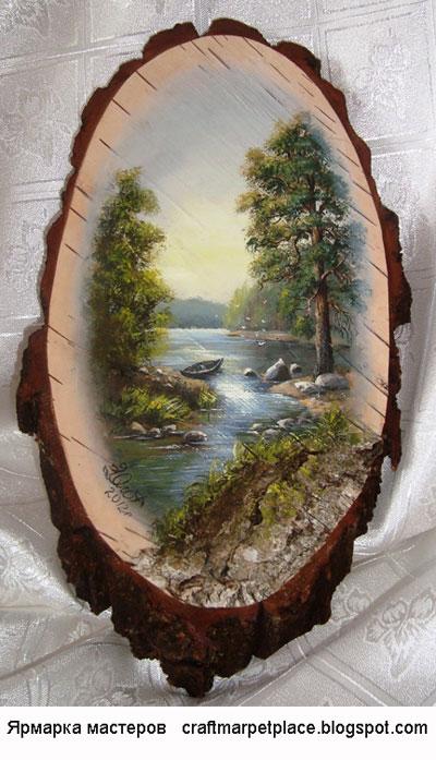 Декупаж на срезе дерев