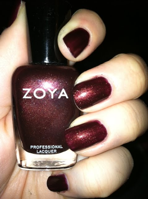 Zoya Kalista    A really pretty burgundy maroon shimmer  Almost opaque    Zoya Kalista