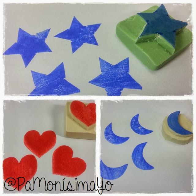 Sellos carvados Estrella luna y corazón