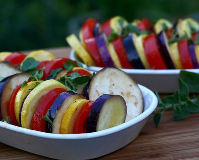 Stacked Ratatouille, easy, versatile baked eggplant, summer squash and tomato @ AVeggieVenture.com. Low Carb. Paleo. Whole 30. Vegan. Weight Watchers PointsPlus 3.