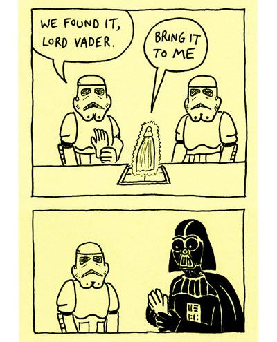 Stormtrooper hands Darth Vader Lukes hand
