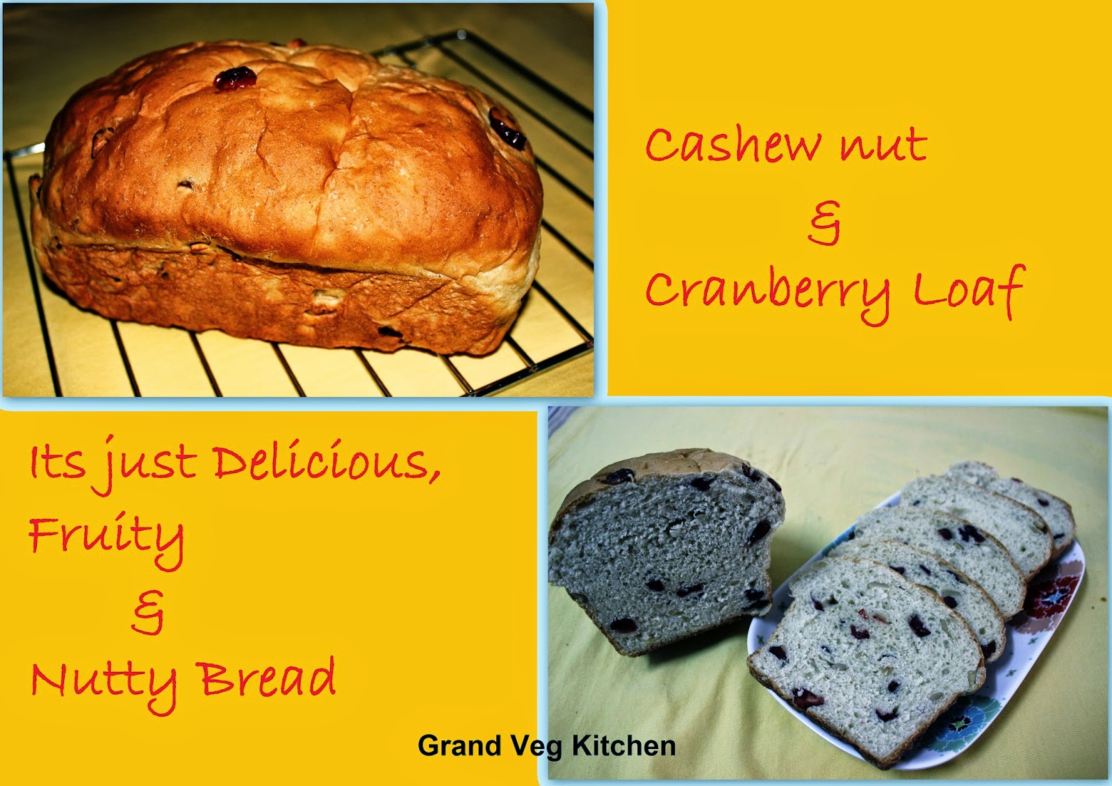 ... : Cashew nut & Cranberry Loaf –Delicious, Fruity & Nutty Bread