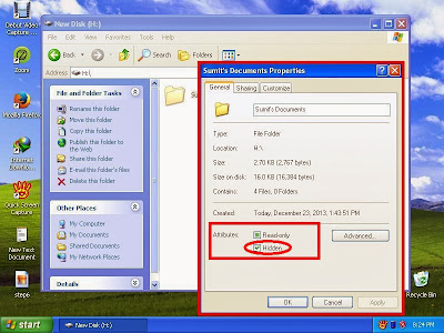 Learn how to unhide files and folders in windowsXP step7