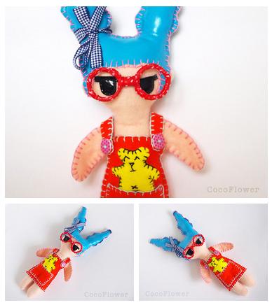 poupée brodée main par CocoFlower