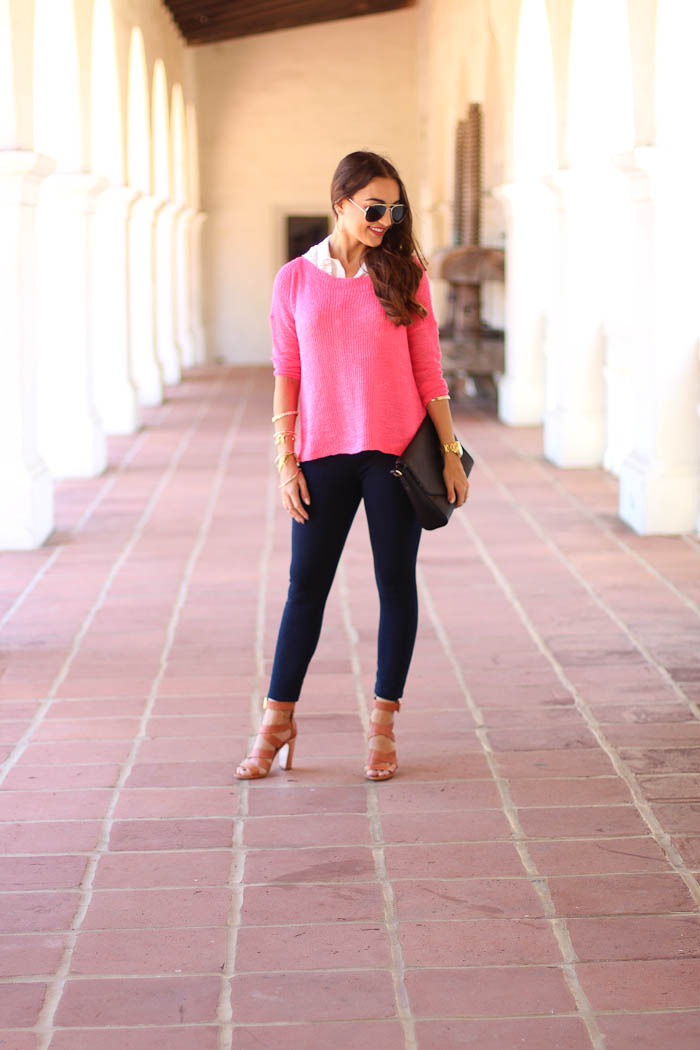 leggings, lysse, pink top, layers, bcbg sandals, layered outfit