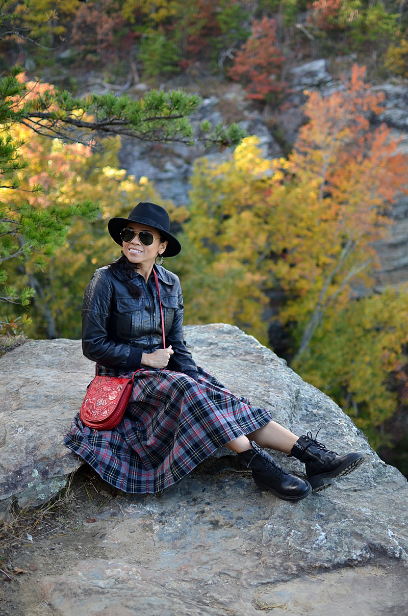 Plaid with leather street style