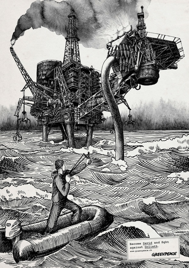 The black and white illustrations shows david fighting against oil rigs overfishing deforestation air pollution golliaths