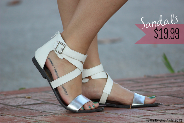 white metallic gladiator sandals