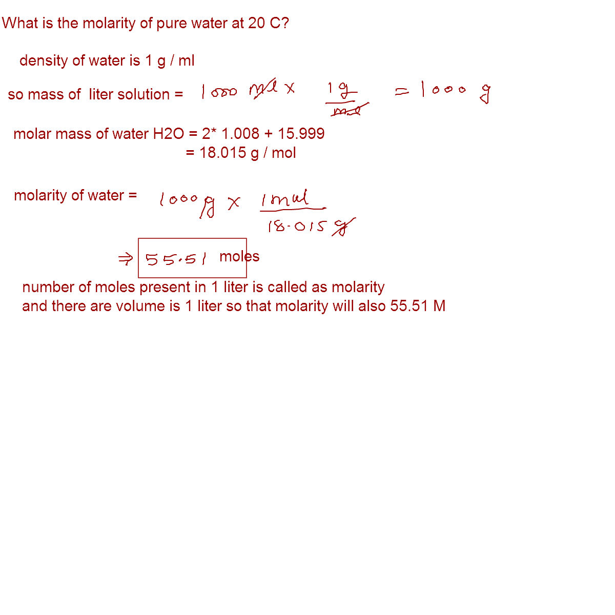 online mathematics and chemistry help what is the molarity of what is the molarity of pure water at 20 c