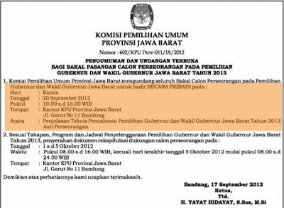 Undangan Terbuka dari KPU Prov. Jabar Bagi Bakal Pasangan Calon Perseorangan pada pilgub jawa barat 2013