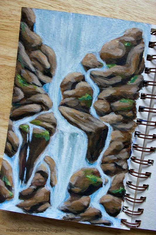 waterfall art journal painting