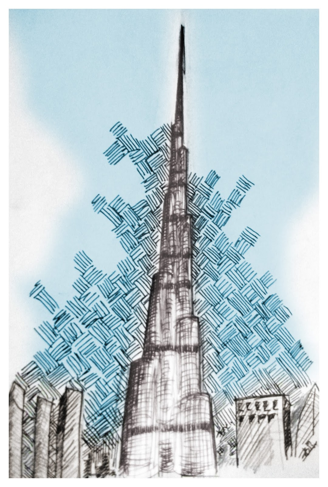 Roadside razi august 2013 for Burj khalifa sketch