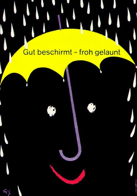 vintage German umbrella ad illustration by Fritz Butz
