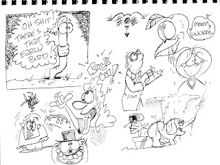 boon cartoonist for hire draws random doodles worm bird mom elephant scientist rocker