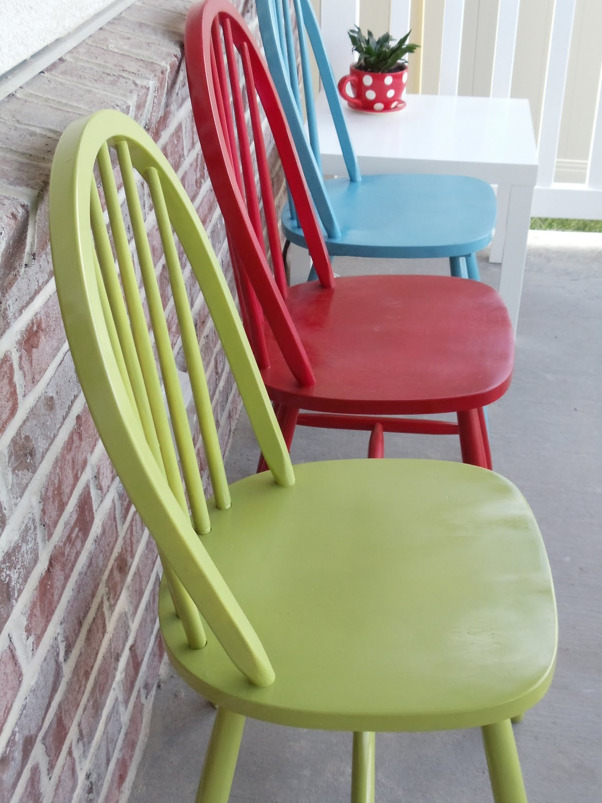 My cotton creations refinished chairs for Painted kitchen chairs
