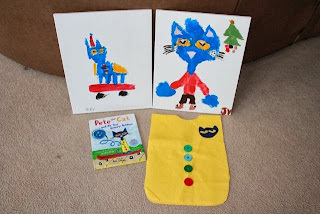 Pete the Cat Easy Art Smock and paintings