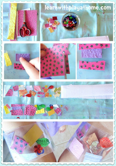 cutting practice, cutting activity, collage, contact paper, crafts for kids