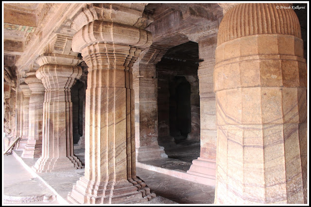 Beautiful pillars in Cave 3, Badami