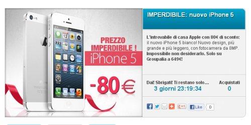 Sconto reale di 70 sullo smartphone di quinta generazione di Apple iPhone 5 con acquisto tramite coupon Groupalia