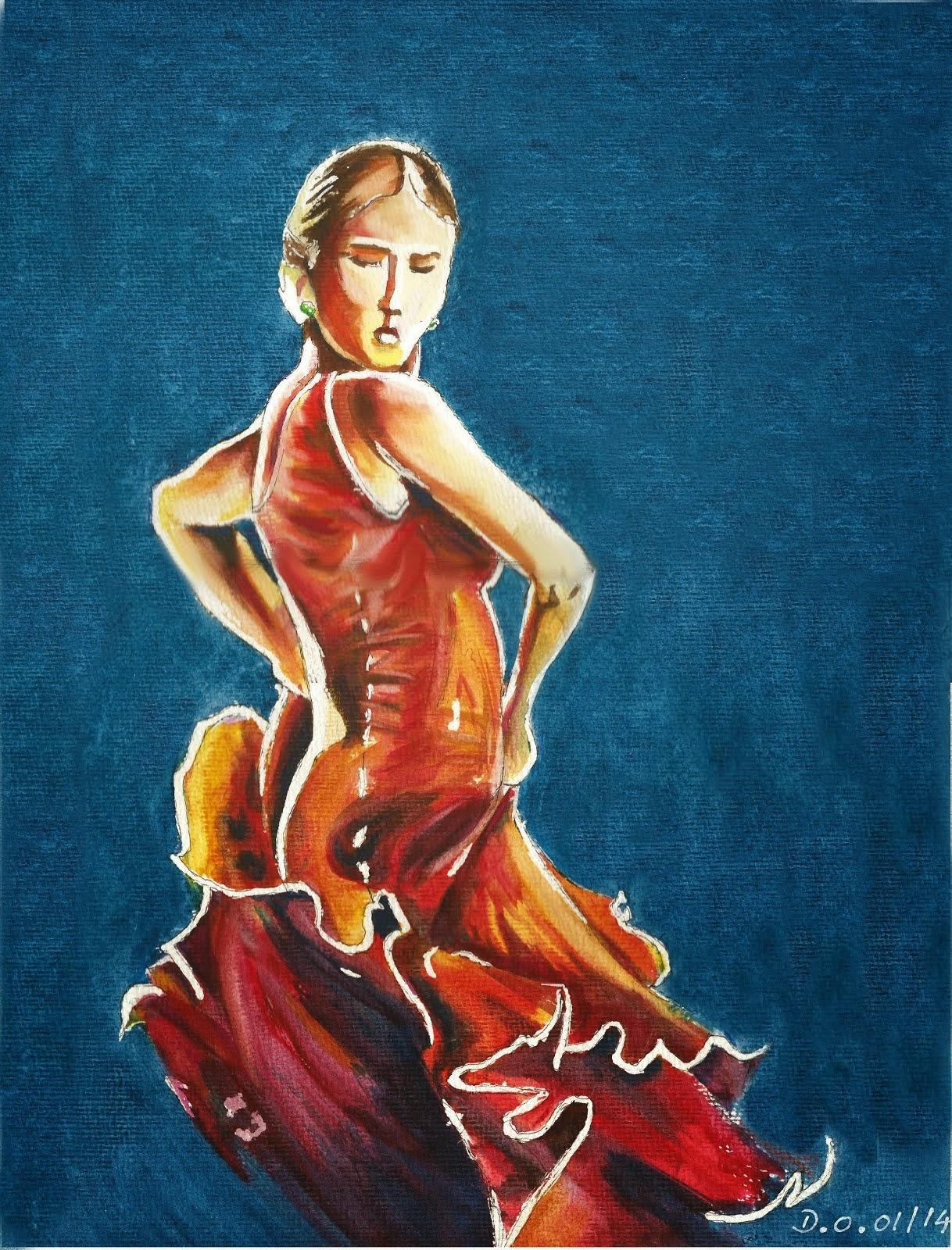 Flamenco aquarelle 2014