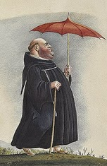 fat priest with red umbrella