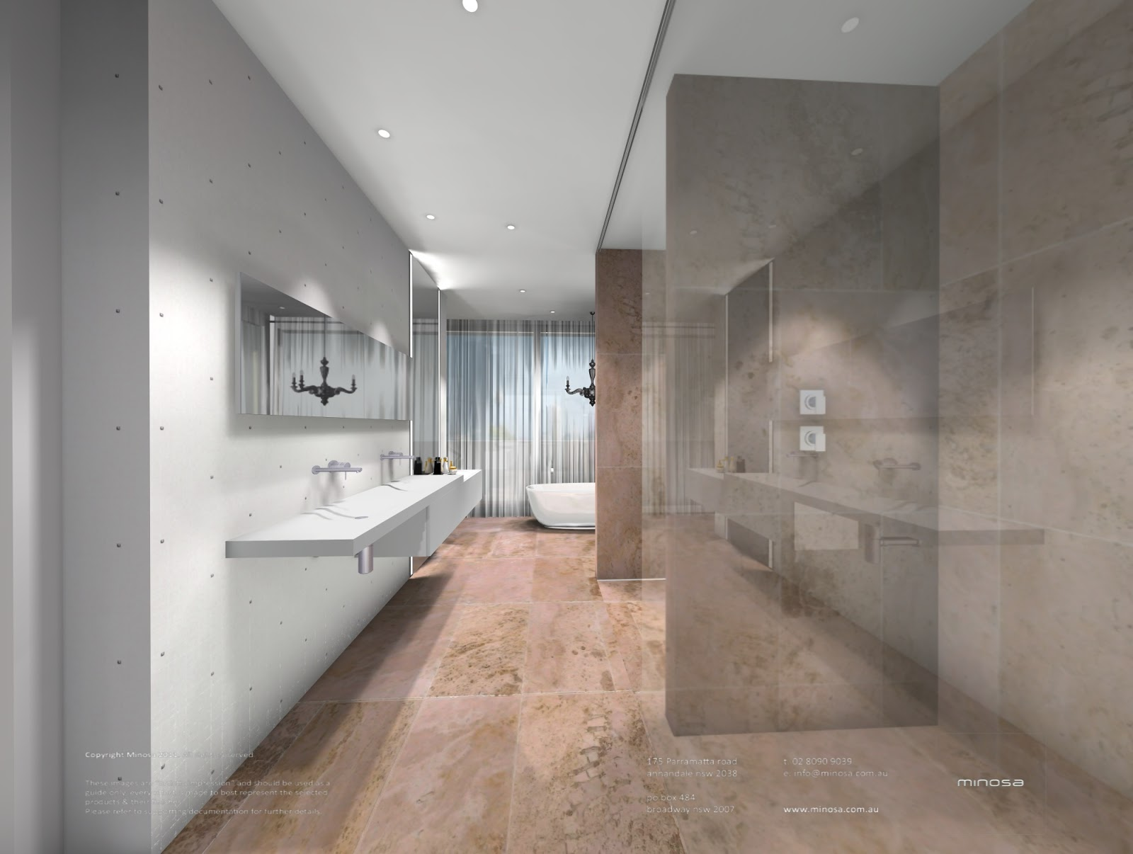 Minosa new minosa bathroom design resort style ensuite - The Large Open Styled Walk In Robe Is Concealed Behind The Sheer Curtain