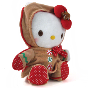 Hello Kitty gingerbread man cane plush soft toy for Christmas