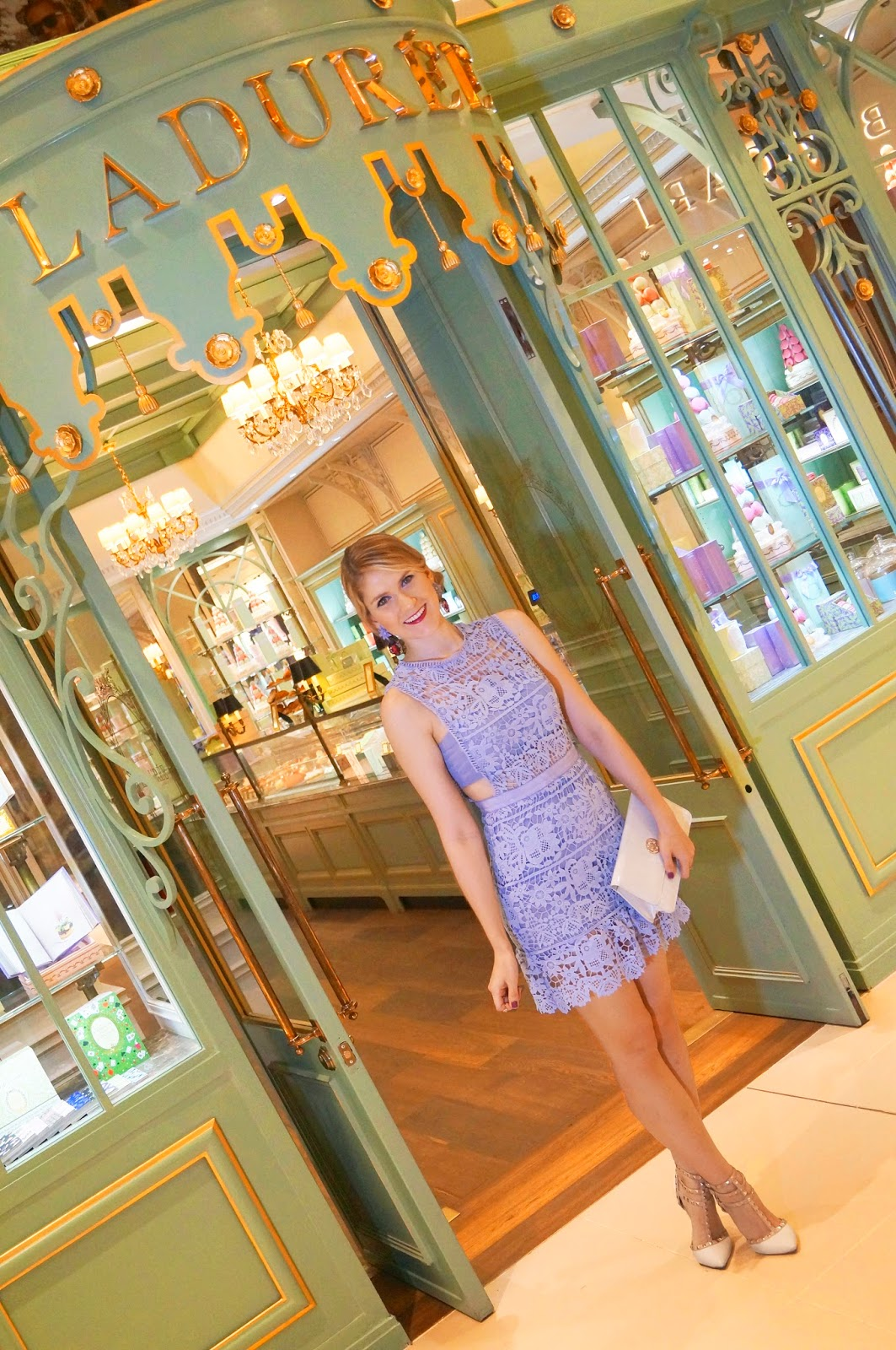 Chic in lavender at Ladurée in Panama City