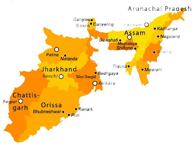 Tourist Map Of East India Tourism