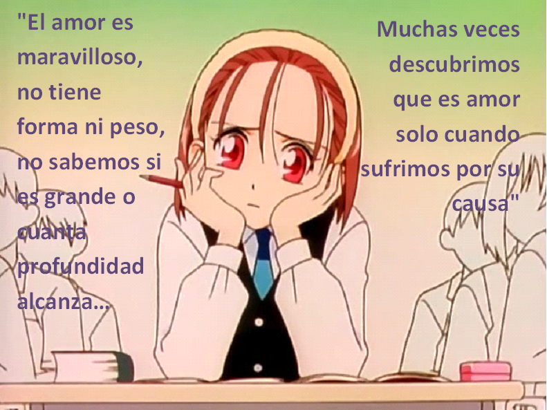 Frases con fotos del anime. Kare+kano