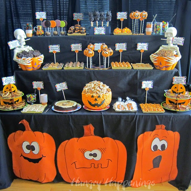 Pumpkin Party Dessert Table for Halloween | HungryHappenings.com