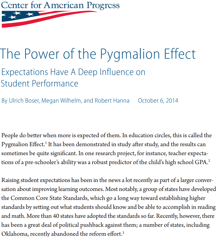 the pygmalion effect essay Free essay: twentieth century britain is dubbed the victorian era in which the   pygmalion effect in management principles of management abstract the.