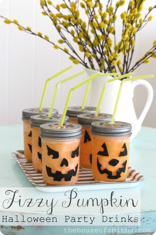 fizzy pumpkin halloween drink in jars from homescom