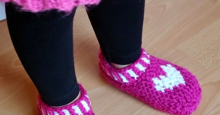 My Hobby Is Crochet Heart Sole Slippers Small Child Size Free