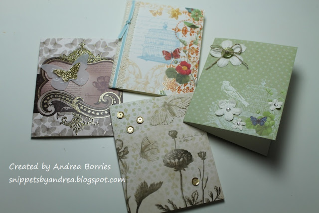 Four card designs made by folding a piece of printed card stock and adding embellishments.
