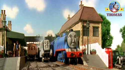 Annie Clarabel Thomas the tank engine and Gordon the train Spencer colleting the traveling passenger