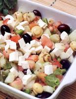Salada Grega com Cogumelos (vegana)