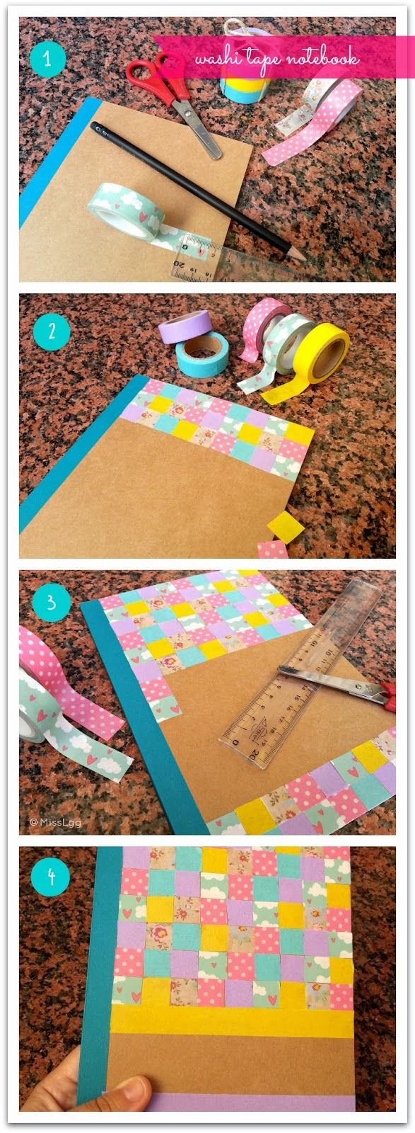 washi tape notebook patchwork libreta washi tape DIY pasos