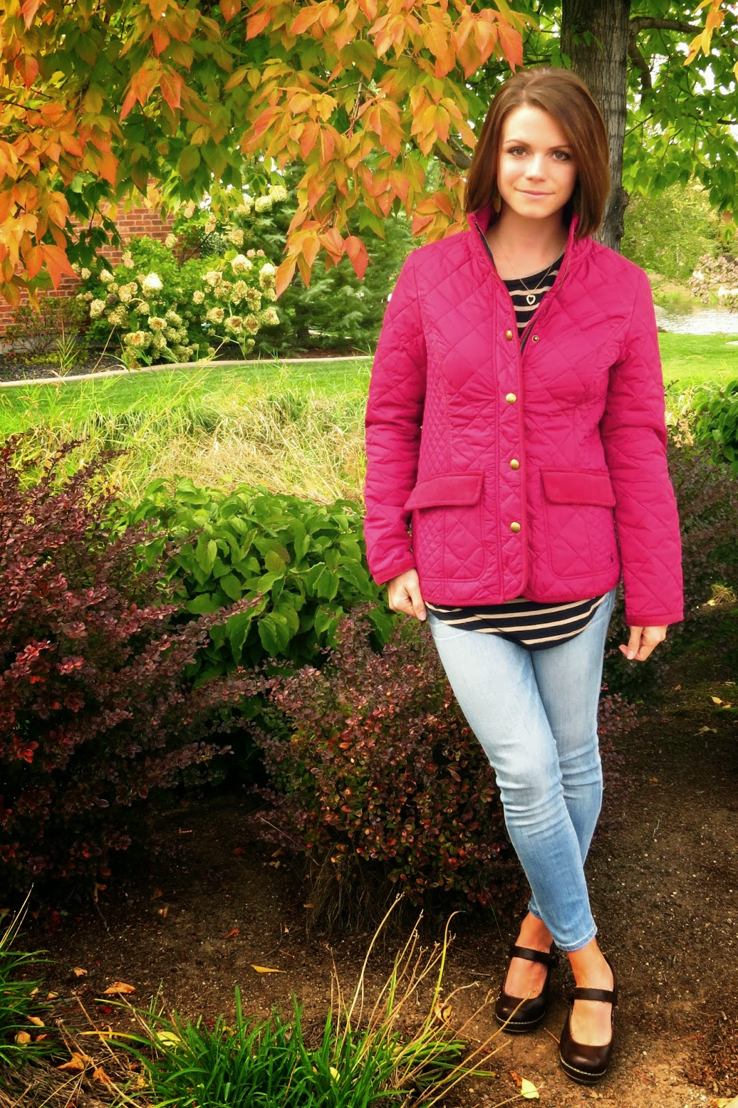 Quilted Jacket with Jeans and Mary Jane Wedges