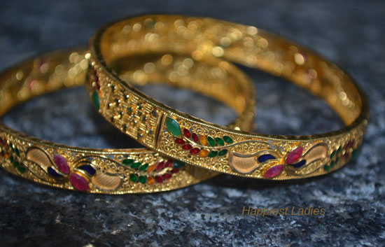 30grams-ruby-emerald-gold-bangle-+-pure-gold-+-Bhima-diamond