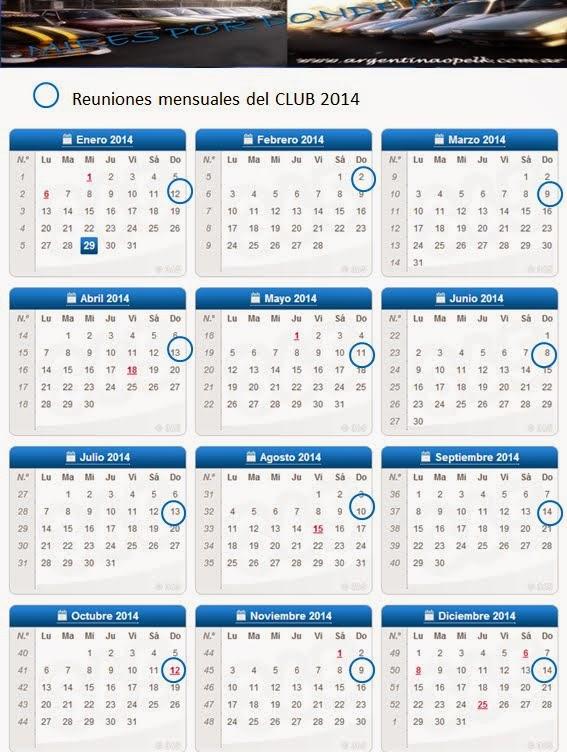 "Calendario de Reuniones mensuales ""Argentina Opel K"""